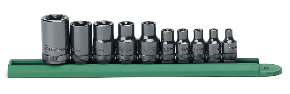 GearWrench 80582, 10 Piece 1/4in and 3/8in and 1/2in Drive External Torx  Socket Set