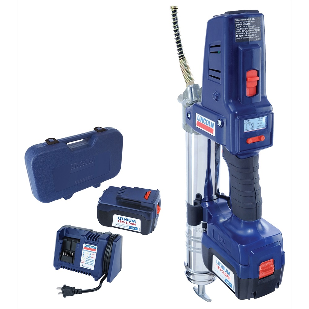 Lincoln Lubrication 1864, 18 Volt Lithium Ion Cordless Grease Gun with 2  Batteries