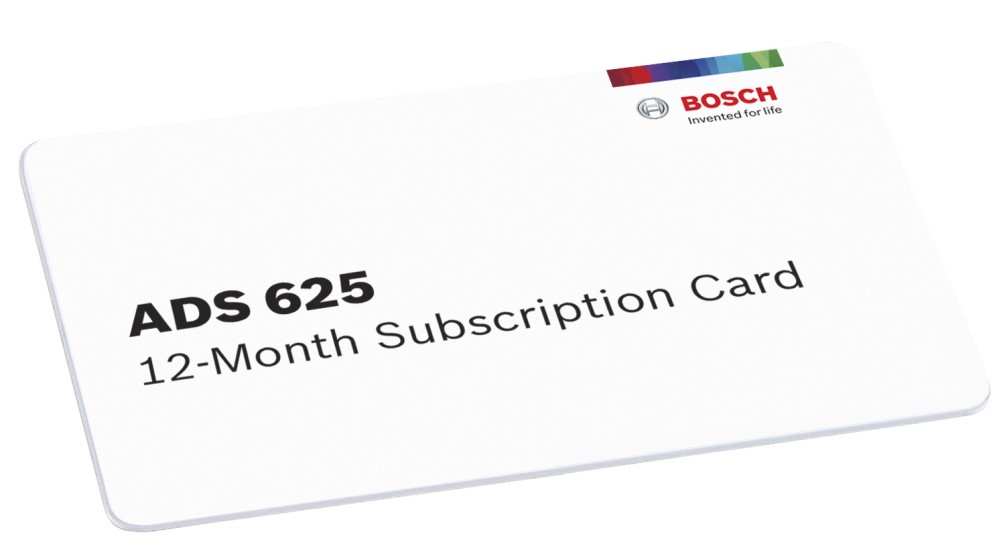 Bosch 3970-SUB, ADS 625 12-Month Software Subscription