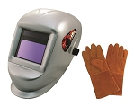 Astro Pneumatic 8077SE, Deluxe Solar Auto-Darkening Welding Helmet with Bigger Observation Window and a pair of 13.5in Leather Gloves