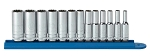 GearWrench 80308, 13 Piece 1/4in Drive 12 Point Deep Metric Socket Set