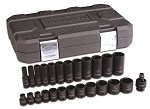 GearWrench 84919N, 25 Piece 3/8in Drive 6 Point SAE Standard and Deep Impact Socket Set