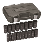 GearWrench 84934N, 19 Piece 1/2in Drive 6 Point SAE Deep Impact Socket Set