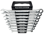GearWrench 85198, 8 Piece XL Combination Ratcheting SAE Wrench Set
