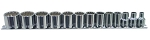 K Tool International 22501, 13 Piece 12 Point 3/8in Drive Shallow SAE Socket Set
