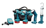 Makita 6933FDX2, 14.4 Volt Auto Combination Cordless Driver Drill and Impact Wrench and Light Kit
