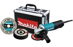 Makita 9557PBX1, 4-1/2in Electric Angle Grinder with Diamond Blade and 4 Grinding Wheels