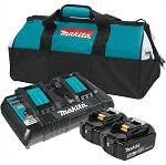 Makita BL1850B2DC2X, 18V LXT Lithium-Ion Battery and Dual Port Charger Starter Pack (5.0Ah)