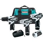 Makita LCT401W, 4 Piece 12V Max Lithium-Ion Cordless Impact Tool Combo Kit with Flashlight and Tote Bag