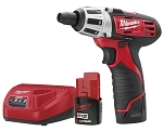 Milwaukee 2401-22, M12 1/4in Cordless Hex Screwdriver Kit