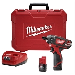 Milwaukee 2406-22, M12 Lithium-ion 1/4in Hex 2-Speed Cordless Screwdriver Kit