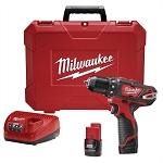 Milwaukee 2407-22, M12 3/8in Cordless Drill / Driver Kit