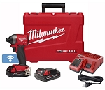 Milwaukee 2857-22CT, M18 FUEL 1/4in Cordless Hex Impact Driver with One Key CP Kit