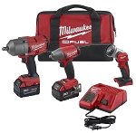 Milwaukee 2996-23, M18 3 Piece 1/2in Drive Cordless Impact Wrench and 3/8in Drive Cordless Impact Wrench with Flashlight Kit