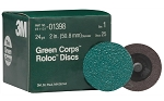 3M 01398, 2in Green Corps Roloc Discs - 24 Grit