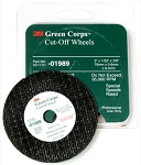 3M 01989, 3in x 1/32in x 3/8in Green Corps Cut-off Wheels - 5 Pack
