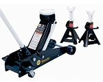 Omega 25030JS, 3 Ton Magic Lift Service Floor Jack with Free Pair of Jackstands