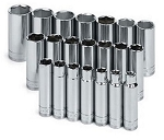 SK Tools 1947, 21 Piece 1/2in Drive Metric Deep 6 Point Socket Set