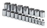 SK Tools 4120, Superkrome 19 Piece 1/2in Drive 6 Point Standard Fractional Socket Set