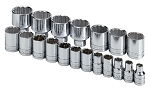 SK Tools 4121, Superkrome 1/2in Drive 19 Piece 12 Point Standard Fractional Socket Set
