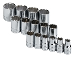 SK Tools 4122, 15 Piece 1/2in Drive SAE Standard 12 Point Socket Set