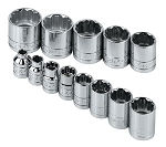 SK Tools 4653, 13 Piece 3/8in Drive SAE Standard 12 Point Socket Set