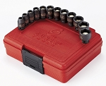Sunex 1822, 1/4in Drive 12 Piece Metric Magnetic Impact Socket Set