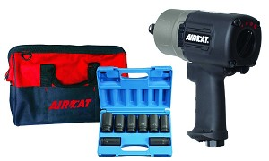 AIRCAT 1770-XLK, 3/4in Super Duty Composite Impact Wrench Kit with 8 Piece Deep Socket Set and AIRCAT Bag