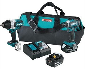 Makita XT270, 2 Piece 18V LXT Cordless Impact Driver and 1/2in Impact Wrench Kit (3.0Ah)