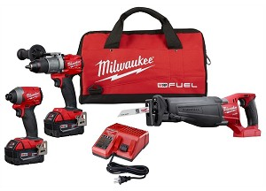 Milwaukee 2997-23, 3 Piece M18 FUEL Cordless Combo Kit with Hammer Drill and Hex Impact Driver and Sawzall Reciprocating Saw